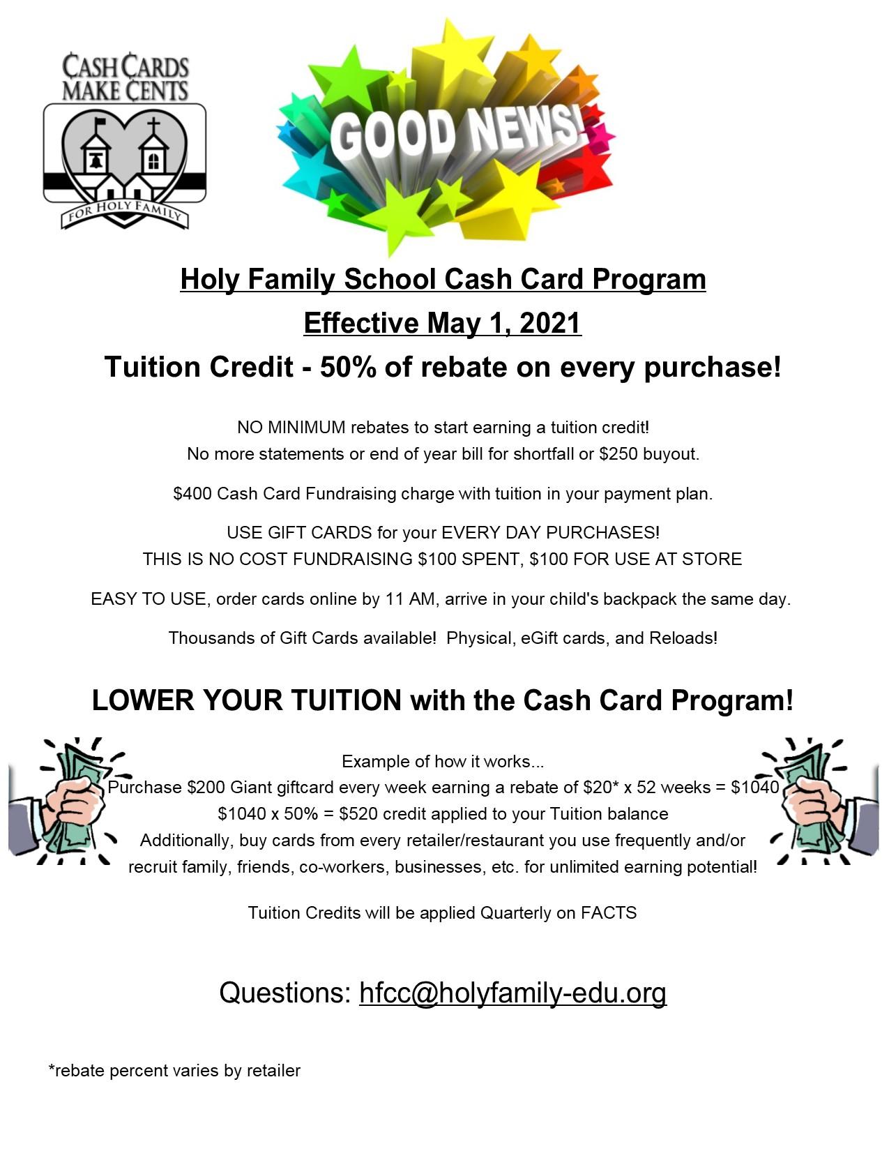 2021 - 2022 School Cash Card Announcement